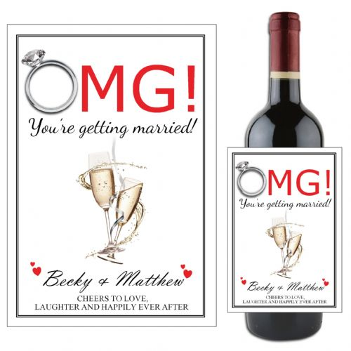 Personalised OMG You're getting married Congratulations Wine / Champagne Bottle Label N67